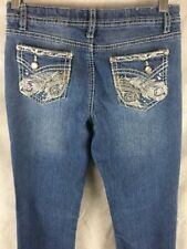 Vanilla Star Girls Stretch  Denim Blue Jeans Jeweled Sz 14