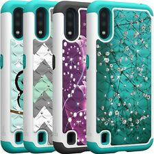 CoverON Samsung Galaxy A01 (US Version) Case Bling Hybrid Phone Cover + Screen