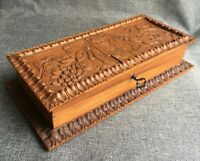 Big antique french Art-Nouveau wood sewing box early 1900's woodwork