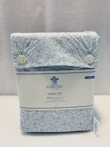 Simply Shabby Chic King Tonal Blue Sheet Set Medallion Rachel Ashwell NWT New