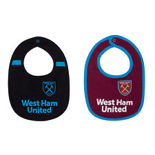 West Ham United FC Official Football Gift 2 Pack Home Away Kit Baby Bibs