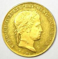 1847-A Austria Ferdinand I Gold Ducat Coin - AU / UNC Details - Rare Coin!