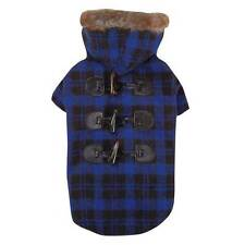 Fur Tipped Toggle Checked Hooded Coat Dog Puppy Jacket Blue   Size:Small