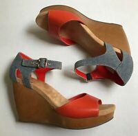 Dr Scholls Milestone Comfort Wedge Sandal Heel Womens 9 Denim Orange Leather NEW