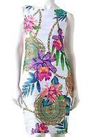 New Jennifer Lopez JLo Womens Floral Pintuck Sheath Dress Petite Small