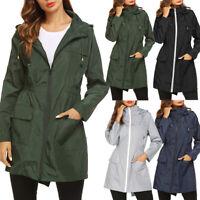 Women's Lightweight Hooded Raincoat Waterproof Active Sports Rain Jacket Coat
