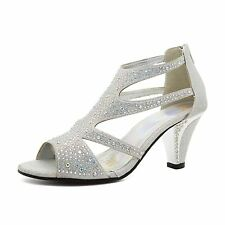 New Ladies Diamante Mid Kitten Heel Womens Bridal Wedding Sandals Party Prom UK