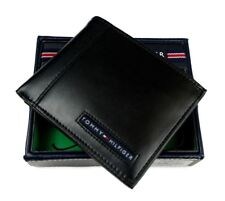 NEW TOMMY HILFIGER MEN'S BLACK CAMBRIDGE LEATHER BILLFOLD TOMMY WALLET 5675-01