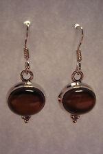 Genuine Indian 925 Silver & Gemstone Cabochon  Earrings~Tigers Eye~S5~uk seller