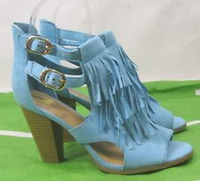 "Womens Blue 4"" Block Heel Open Toe Frill Sexy Shoes Ankle Straps Size 6.5"