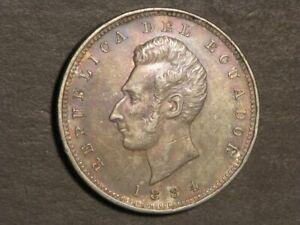 ECUADOR 1884H 1 Sucre Silver Crown XF