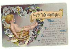 Cherub Sitting In Rocking Chair Valentine Postcard