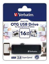 ($0 P & H) Verbatim Store'n'Go OTG Smart Phone USB 3.0 Drive 16GB Black #: 64392