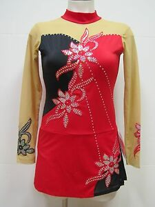 COMPETITION ICE FIGURE SKATING DRESS Christmas Red Black w Crystals Adult S NWT