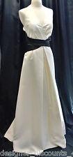 Nicole Miller Platinum Ivory Black halter formal gown wedding long dress SZ 16
