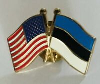 United States Estonia Twin Flags Souvenir Flag Pin Badge Rare Vintage (L42)