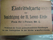ST. LORENZ KIRCHE EINTRITTSKARTE SIGHTSEEING  TICKET  1800's ORIGINAL  GERMANY