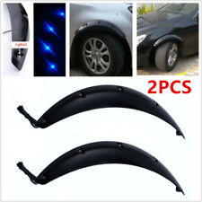 2X Black Car Fender Flare Wheel Eyebrow Protector Sticker w/ Blue LED Light 58CM