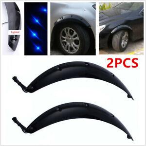 2X Black Car Fender Flare Wheel Eyebrow Protector Sticker w/ Blue LED Light 58CM