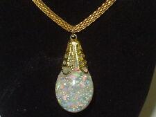 Globe Aurora Borealis Pendant Necklaces Large Beautiful Floating Lab Opal Snow