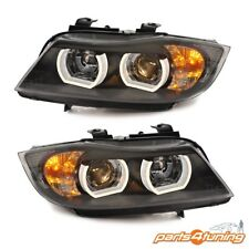 XENON HEADLIGHTS BMW 3 SERIES E90 E91 2005-2008 BLACK PROJECTOR U-TYPE DRL LAMPS