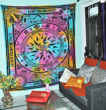 """Tie Dye Indian Cricle Of age """"LIVE THE PRESENT"""" Bohemain Wall Hanging Tapestry"""