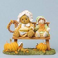 CHERISHED TEDDIES -ELSPETH BEAR SITTING ON BENCH WITH PUMPKINS