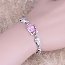Pleasant Pink Topaz Silver Link Chain Bracelet 7 - 8 inch For Women S0321