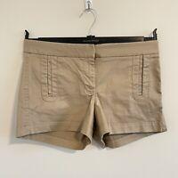 "J. Crew Women's Shorts Size 4 Stretch Khaki Tan Flat Front 3"" Inseam Chino"