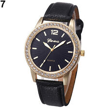Ladies Fashion Geneva Quartz Gold Tone Rhinestone Black Leather Band Wrist Watch