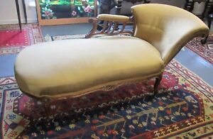 FINE ANTIQUE LOUIS XV STYLE WALNUT RECAMIER W/ GOLD INCISED HIGHLIGHTS WIDE BACK
