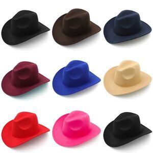 Fashion Boys Girls Felt Western Cowboy Hat Wool Blend Cowgirl Fedora Cap Size XS