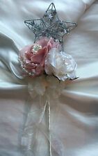 SPILLA Bouquet Flower Girl Wand shabby chic vintage color panna / rosa scuro