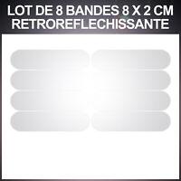 8 Stickers BLANC REFLECHISSANT Sécurité motard Visibilité la nuit Reflective