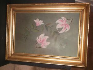 Antique Framed Primitive Still Life Oil Painting on board of Pink Lilies