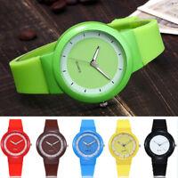 Women Girl Casual Quartz Watch Rubber Sport Silicone Gel Band Analog Wrist Watch