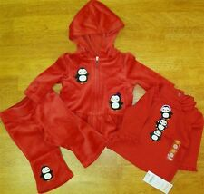 Hoodie Pant Set 3pc Red Gymboree Velour Penquin Winter Girl 3 6 month New