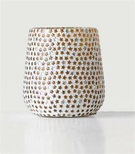 White Mosaic Star Glass See Through Christmas Winter Votive Candle Holder