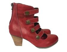 L' Artiste Womens Spring Step Anchor Bootie Size 37 US 7 Red Caged Boots Shoes