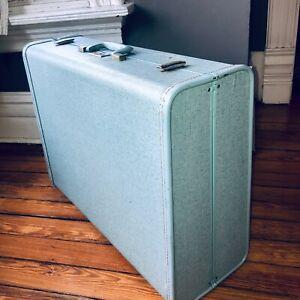 VTG 50'S SAMSONITE ROYAL TRAVELLER*BLUE TWEED SPARKLE LG TRAVEL HARD SUITCASE