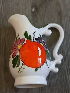 Authentic Earthware Pottery floral Vase with a orange trim in green/Pitcher