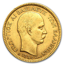 1884-A Greece Gold 20 Drachmai George I. AU - SKU #37513