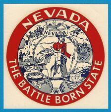 "VINTAGE ORIGINAL 1946 SOUVENIR ""THE BATTLE BORN STATE"" NEVADA TRAVEL DECAL ART"