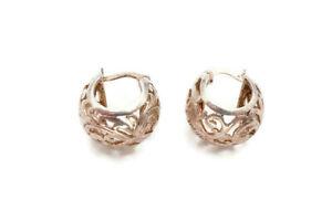 Sterling Silver 925 Filigree Open Work Huggie Hoop Earrings