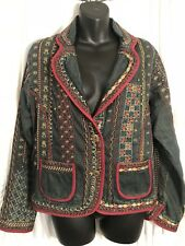 RARE! Chico's Beaded Embroidered Art-to-Wear Ethnic Tribal Jean Denim Jacket 1 M