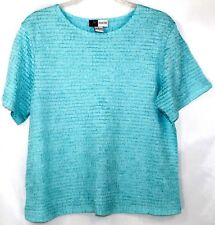 NWOT Jennifer Moore Career Casual Women's PL Baby Blue Texture Stretch SS Blouse