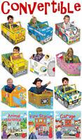 Boys & Girls Convertible Book Toy Set 3-6 Years Pirate Ship, Race Car, Spaceship