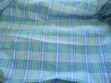 6 yds UPHOLSTERY FABRIC TARTAN *GREEN WHITE LAVENDER BLUE *PLAID *CHAIRS *DRAPES