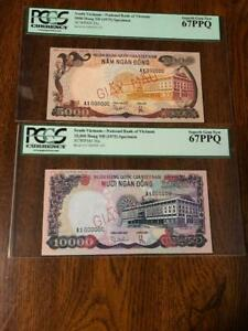1975 South Vietnam $5000 & $10000 Specimen PCGS 67
