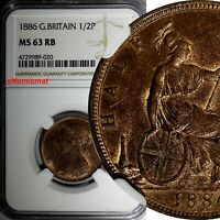 Great Britain Victoria (1837-1901) Bronze 1886 1/2 Penny NGC MS63 RB KM# 754